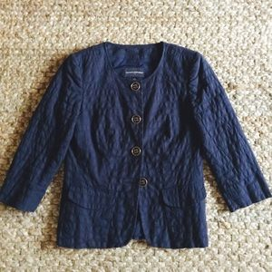 Banana Republic navy cotton blazer, 3/4 sleeve